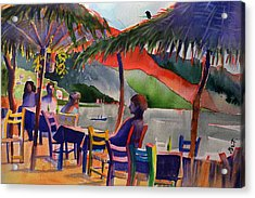 Acrylic Print featuring the painting Palapas by Gertrude Palmer