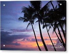 Palm Trees At Sunset, Keawekapu Beach Acrylic Print by Ron Dahlquist