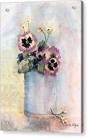 Pansies In A Can Acrylic Print