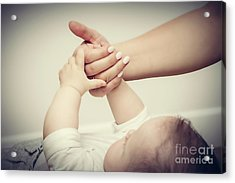 Parenthood. Mother And Her Little Baby Touching Each Other Hands Acrylic Print
