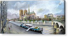 Paris Notre-dame De Paris Acrylic Print by Yuriy  Shevchuk