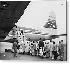 Passengers Boarding Airplane Acrylic Print by Underwood Archives