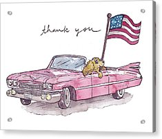 Patriotic Puppy Thank You Card Acrylic Print by Katrina Davis