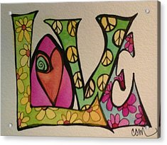 Peace And Love Acrylic Print by Claudia Cole Meek