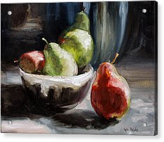 Pears In Grandma's Bowl Acrylic Print by Kathy Busillo