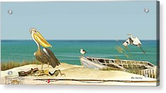 Pelican Fishing Acrylic Print by Anne Beverley-Stamps