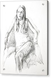 Pensive Girl Acrylic Print by Synnove Pettersen
