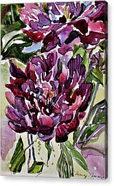 Acrylic Print featuring the painting Peonies by Mindy Newman