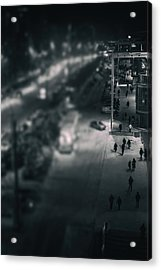 People At Night From Arerial View Acrylic Print