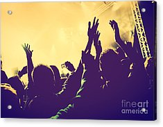 People With Hands Up In Night Club Acrylic Print by Michal Bednarek