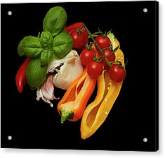 Acrylic Print featuring the photograph Peppers Basil Tomatoes Garlic by David French