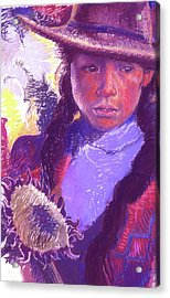 Peruvian Girl With Sunflower Acrylic Print