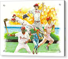 Phillies Through The Ages Acrylic Print by Brian Child