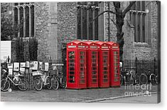 Phonebox In Red Acrylic Print by David Warrington