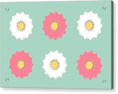Acrylic Print featuring the digital art Pink And White by Elizabeth Lock