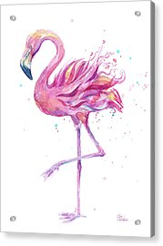Pink Flamingo Watercolor Acrylic Print