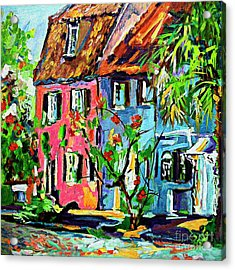 Acrylic Print featuring the painting Pink House On Chalmers Street Charleston South Carolina by Ginette Callaway