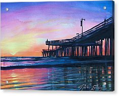 Pismo Pier Sunset Acrylic Print by Therese Fowler-Bailey