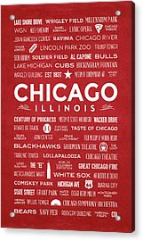 Places Of Chicago On Red Chalkboard Acrylic Print