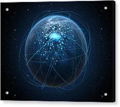 Planet With Illuminated Network And Light Trails Acrylic Print