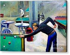 Playing Billiard Acrylic Print by George Siaba