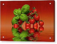 Acrylic Print featuring the photograph Plum Cherry Tomatoes Basil by David French