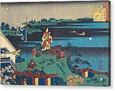 Poem By Abe No Nakamaro Acrylic Print by Katsushika Hokusai