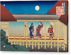 Poem By Akazome Emon Acrylic Print by Katsushika Hokusai