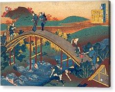 Poem By Ariwara No Narihira Acrylic Print by Katsushika Hokusai