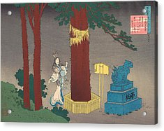 Poem By Chunagon Atsutada Acrylic Print by Katsushika Hokusai