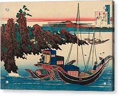 Poem By Chunagon Yakamochi Acrylic Print by Katsushika Hokusai