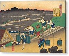 Poem By Fujiwara No Michinobu Ason Acrylic Print by Katsushika Hokusai