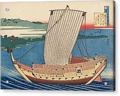 Poem By Fujiwara No Toshiyuki Ason Acrylic Print by Katsushika Hokusai