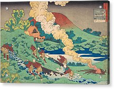 Poem By Kakinomoto Hitomaro Acrylic Print by Katsushika Hokusai