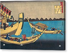 Poem By Kiyohara No Fukayabu Acrylic Print by Katsushika Hokusai