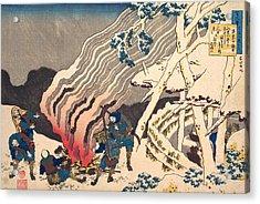Poem By Minamoto No Muneyuki Ason Acrylic Print by Katsushika Hokusai