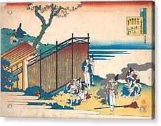 Poem By Onakatomi No Yoshinobu Ason Acrylic Print by Katsushika Hokusai