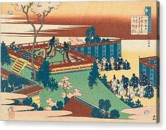 Poem By Sojo Henjo Acrylic Print by Katsushika Hokusai