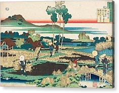 Poem By Tenchi Tenno Acrylic Print by Katsushika Hokusai