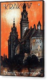 Poland Krakow Vintage Travel Poster Restored Acrylic Print by Carsten Reisinger