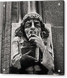 Pondering Gargoyle University Of Chicago 1976 Acrylic Print by Joseph Duba