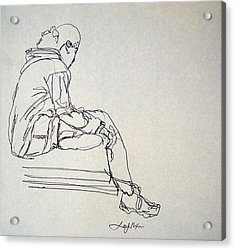 Acrylic Print featuring the drawing Pondering by Lee Nixon