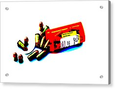 Pop Art Of .45 Cal Bullets Comming Out Of Pill Bottle Acrylic Print by Michael Ledray