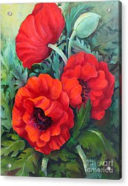 Acrylic Print featuring the painting Poppy Family 1 by Marta Styk