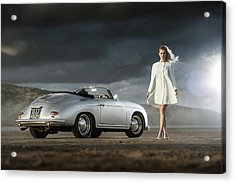 Porsche 356 Speedster With Model Acrylic Print