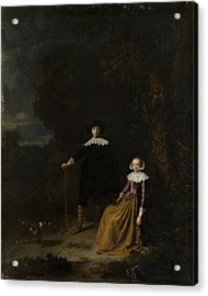 Portrait Of A Couple In A Landscape Acrylic Print by Gerard Dou