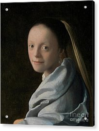 Portrait Of A Young Woman Acrylic Print by Jan Vermeer