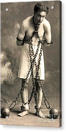 Portrait Of Harry Houdini In Chains. Circa 1900  Acrylic Print