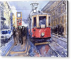 Prague Old Tram 03 Acrylic Print by Yuriy  Shevchuk