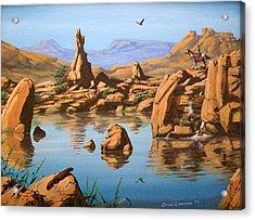 Praying Rock Acrylic Print by David  Larcom